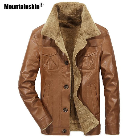New Men's Winter Leather Jacket Mens Brand Thermal Outerwear