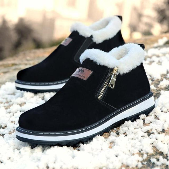 Fashion Black Men's Winter Short Plush Casual Fur Boots