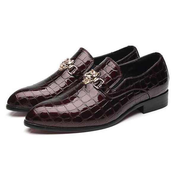 Luxury Crocodile Grain Slip-On Oxfords Shoes Men Casual Dress Shoes
