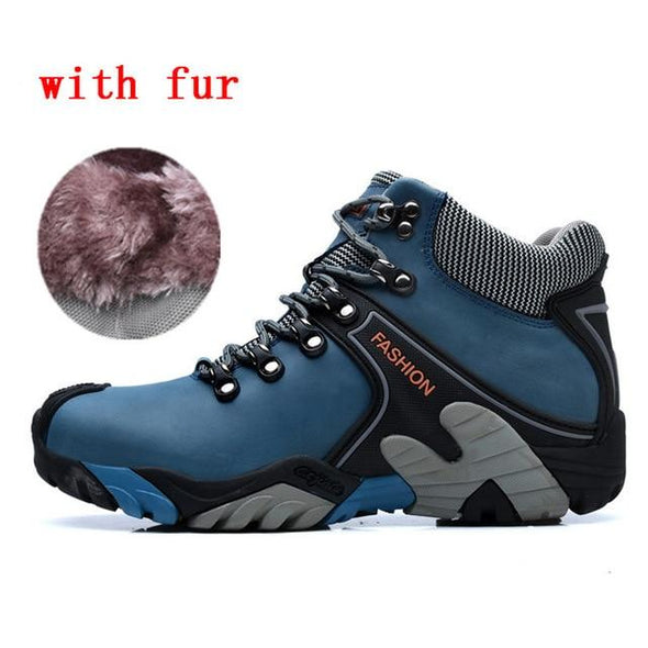 Men Boots Winter Waterproof Snow Boots Lace Up