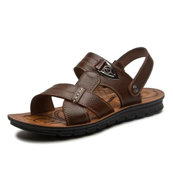 PLus Plus Size Men Genuine Leather Beach Sandals