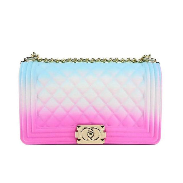 Luxury Summer  PVC Silicone Jelly Gradient Rainbow Crossbody Bags