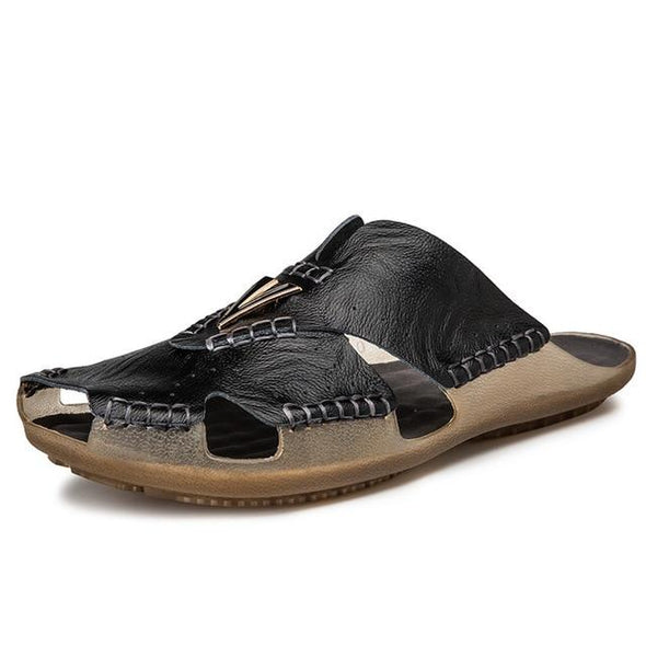 Men Summer Comfortable leather Non-slip  Beach Sandals Slippers