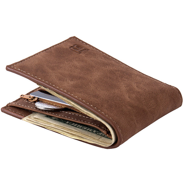 New Fashion Mens Wallet Short Money Purse Wallet with Coin Bag Zipper