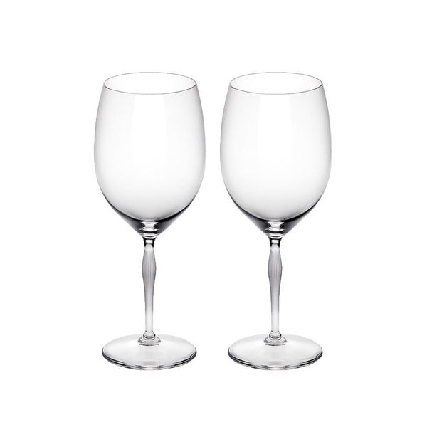 LALIQUE CRYSTAL BORDEAUX GLASS - SET OF TWO