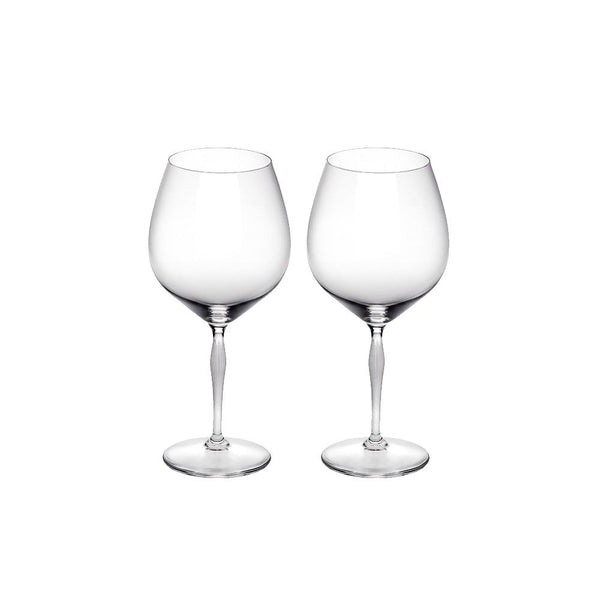 LALIQUE CRYSTAL BURGUNDY GLASS - SET OF TWO