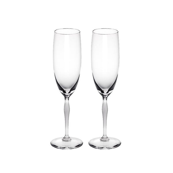 LALIQUE CRYSTAL CHAMPANGE FLUTE - SET OF TWO