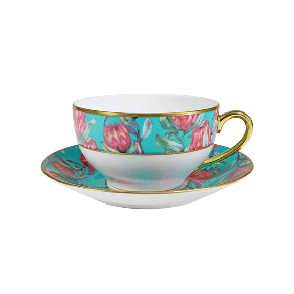 RED BANKSIA ROUND BREAKFAST CUP & SAUCER