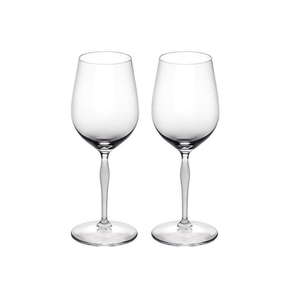 LALIQUE CRYSTAL WINE GLASS - SET OF TWO