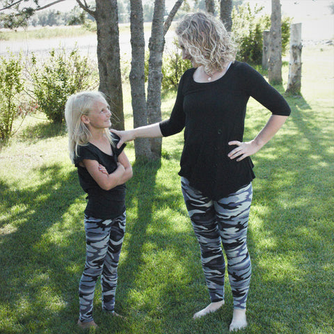 Grey and Black Camouflage Print Legging - Children's - Treasure By Design