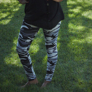 Fashion Grey and Black Camouflage Print Legging - Children's - Treasure By Design
