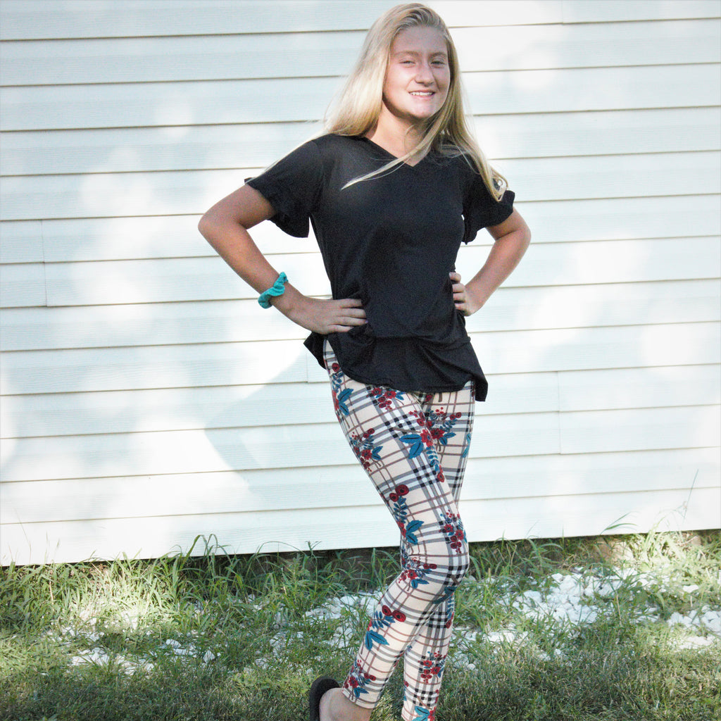 Fashion Poppy on Tartan Print Legging - Women's - Treasure By Design