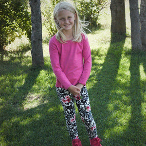 Rose of Sharon on Grey Camouflage Print Legging - Children's - Treasure By Design
