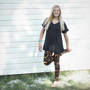 Fashion Spooky Pumpkin Print Legging - Children's - Treasure By Design