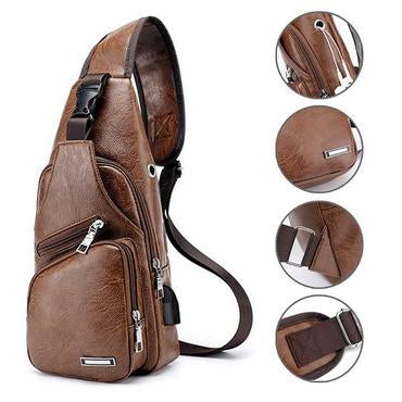 Men's USB Leather Crossbody Bag