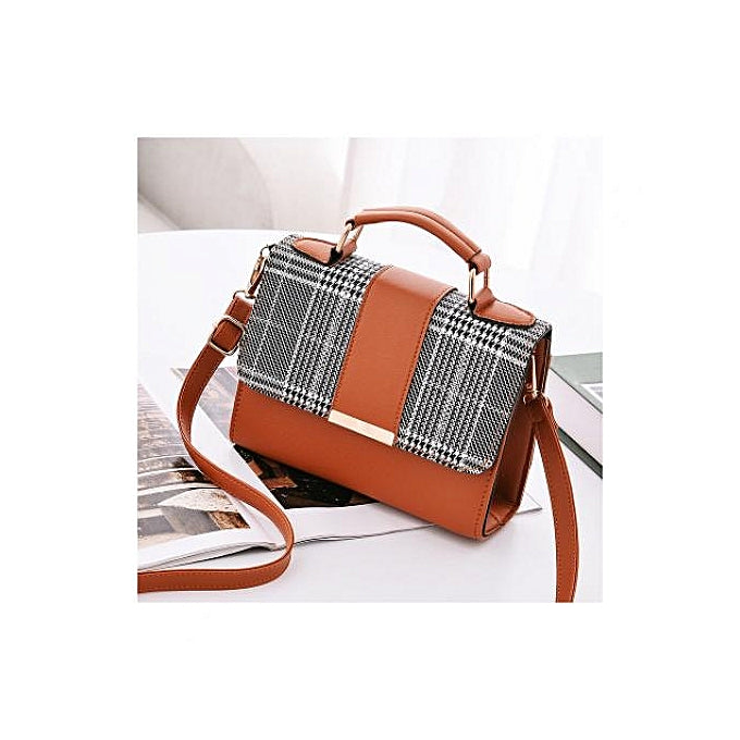 Fashion Portable Plaid Leather Handbag - Brown