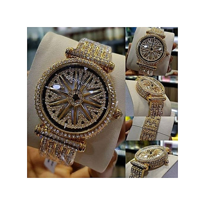 Forecast 2019 Fashion Spinning Straps Wrist Watch-Gold