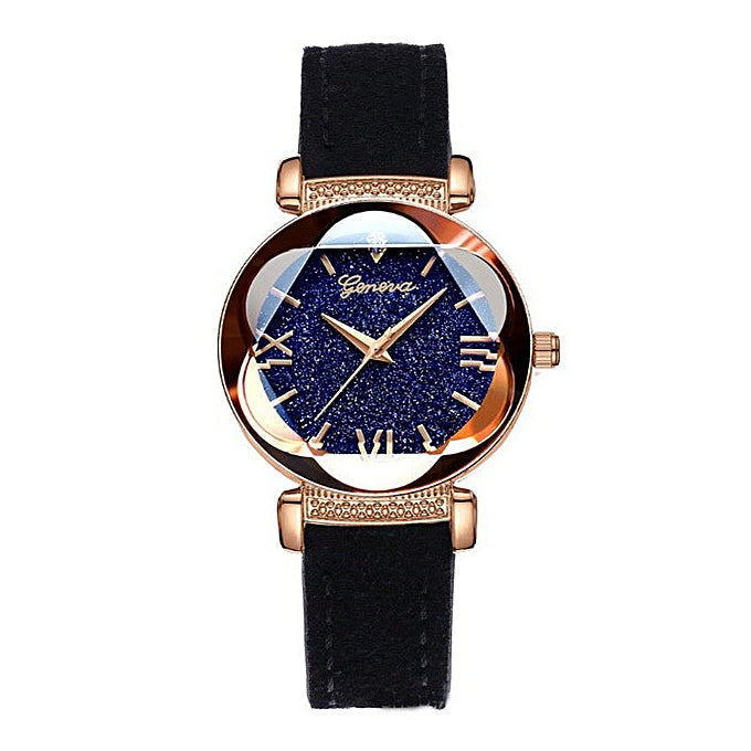 Geneva Ladies Elegant Quartz Wristwatch - Black