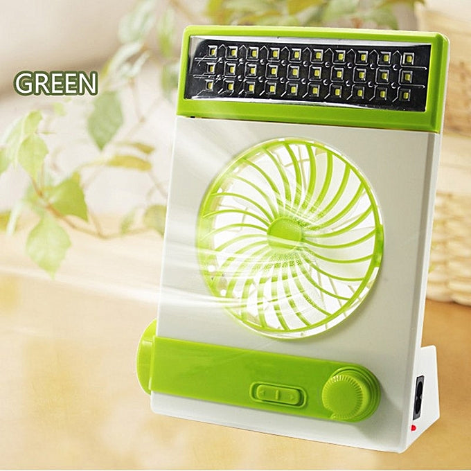 Generic Generic Solar Portable Mini Stand Fan Outdoor Camp Travel Fan LED Table Lamp Flashlight Green