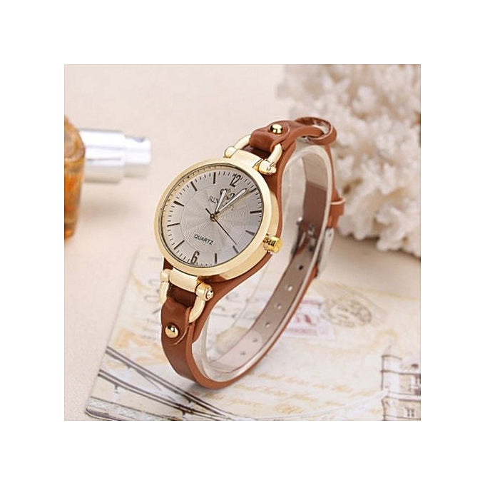 Rinnady New Women Quartz Slim Leather Strap Wristwatch - Brown