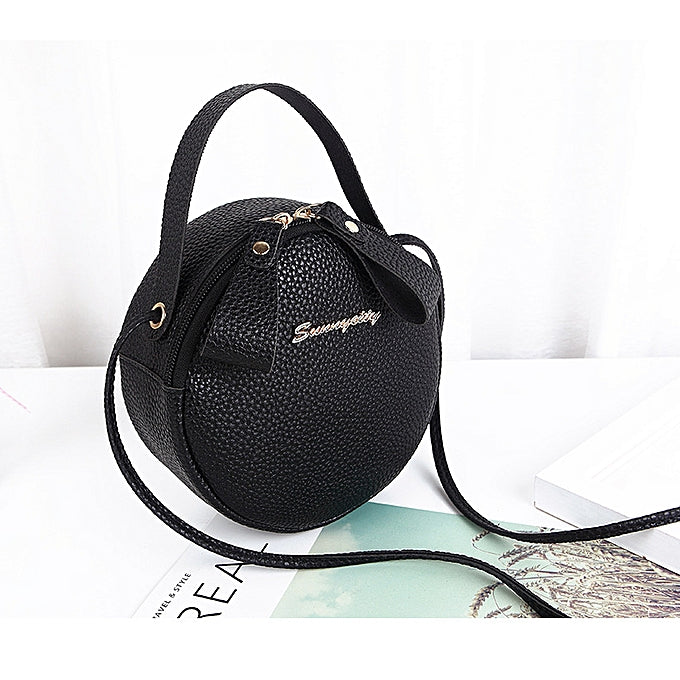 Fashion Women's Round Sling Bag - Black