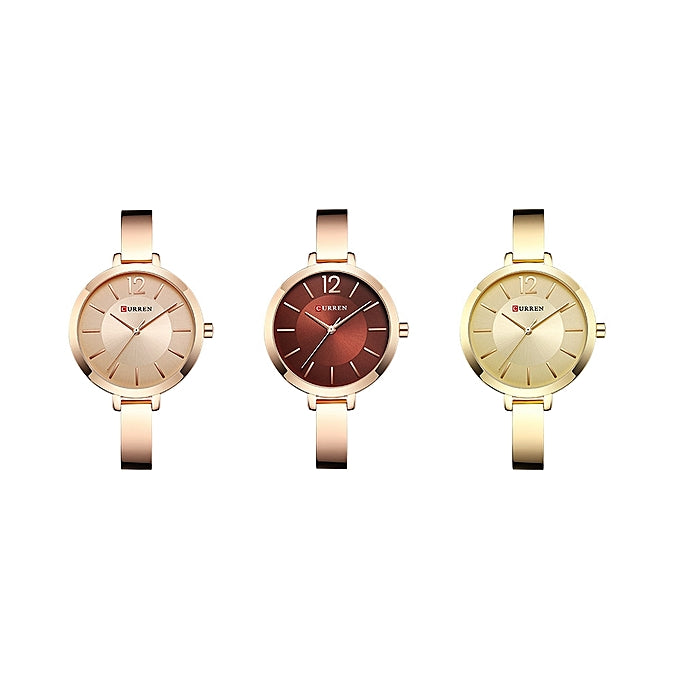 Curren WOMEN'S WATCH-----LADIES QUARTZ ANALOG WATERPROOF BRACELET WATCH----GOLD