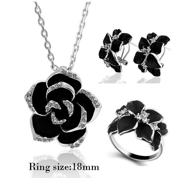 Fashion Rose Flower Enamel Jewelry.