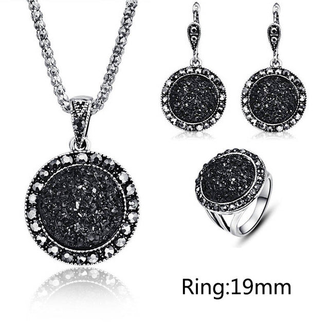 Fashion 1set Vintage Black Gem Jewelry.