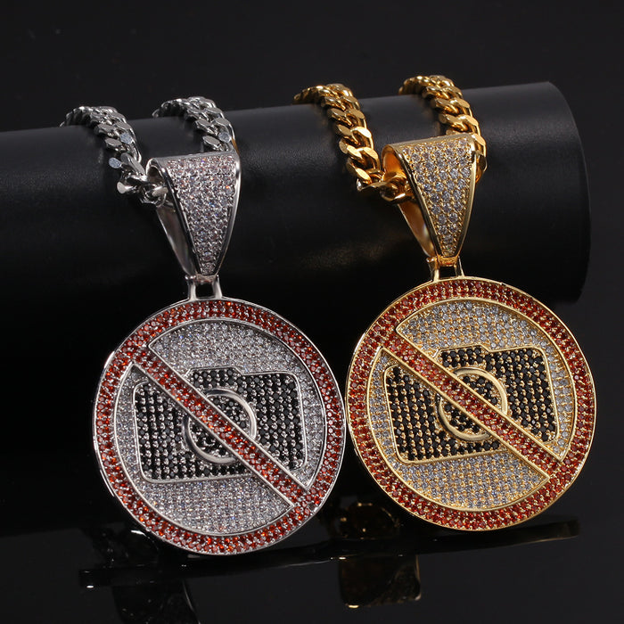 Cubic Zircon Iced Out Chain Gold Pendant