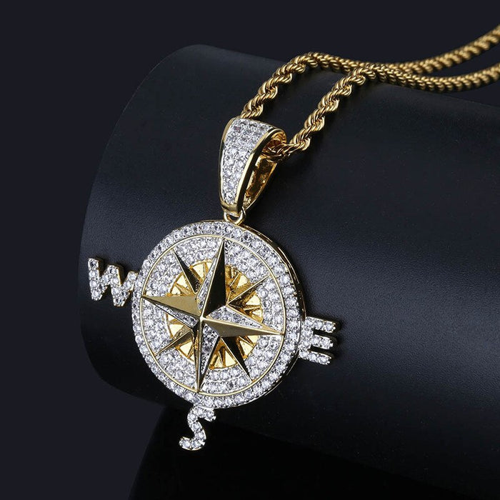 D&Z Personality Shiny Rhinestone Compass Pendant Necklace