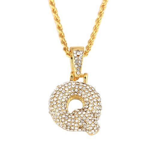 Fashion Hip Hop Rhinestone Letters Pendant Chain Necklace Unisex Party Jewelry Hot