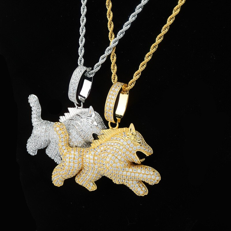 Ice Out Child Wolf Pendants Necklace for Men Rapper