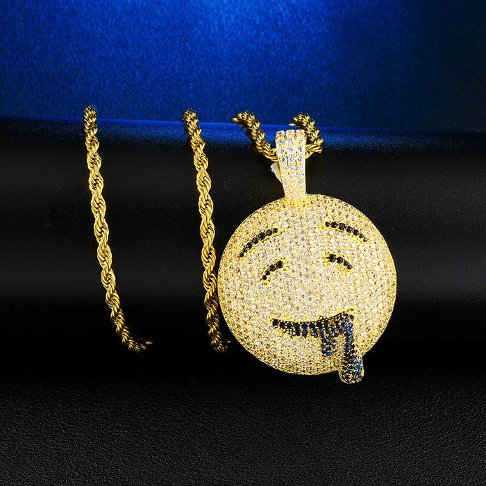 Over Emoji Face Pendant Necklace For Men's Hip Hop Iced Out Jewelry