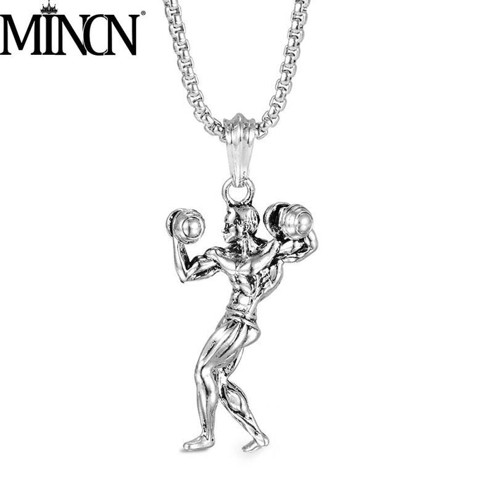 MINCN Dumbbell Muscle Men's Gym Necklace