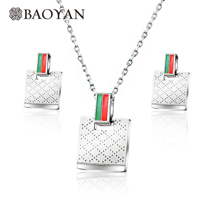 Square Pattern Fashion Brand Jewelry Sets For Women