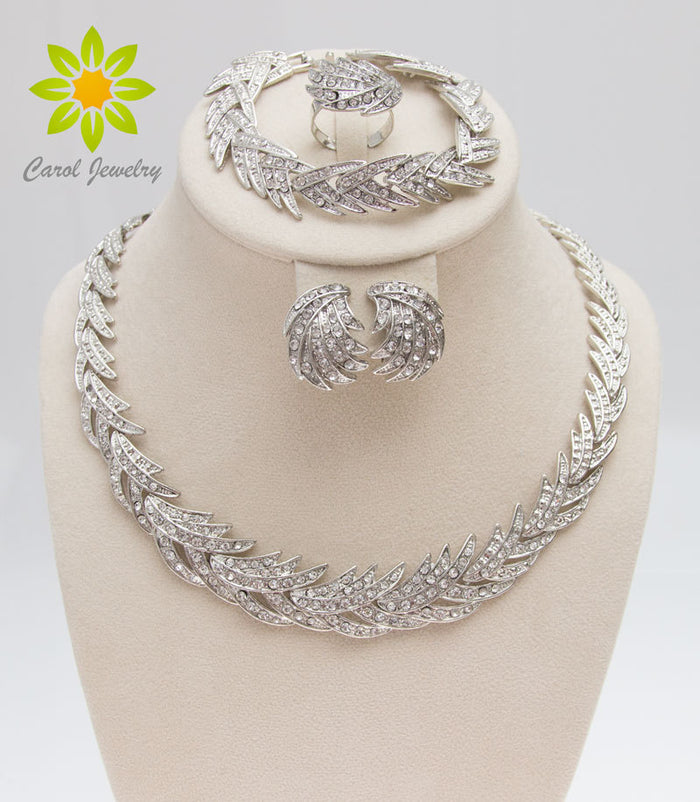 Silver Plated Clear Crystal Jewelry Set