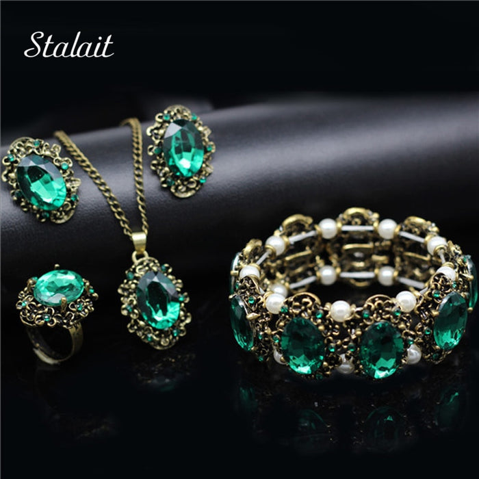 Fashion Wedding Bridal Jewelry Sets Green Crystal Antique Bronze Jewelry.