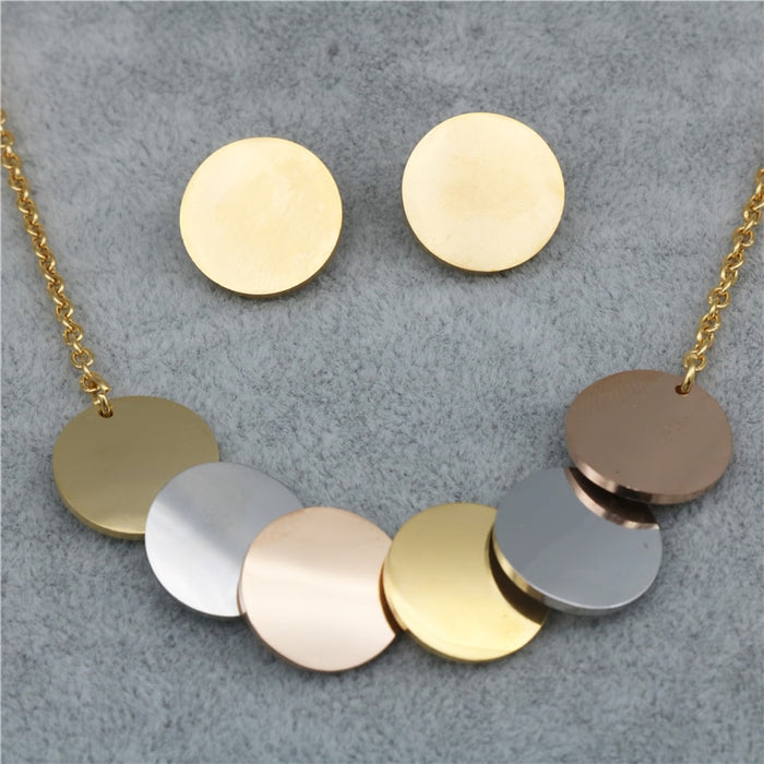 PZ Trendy Stainless Steel Three-Color Pendant Necklace