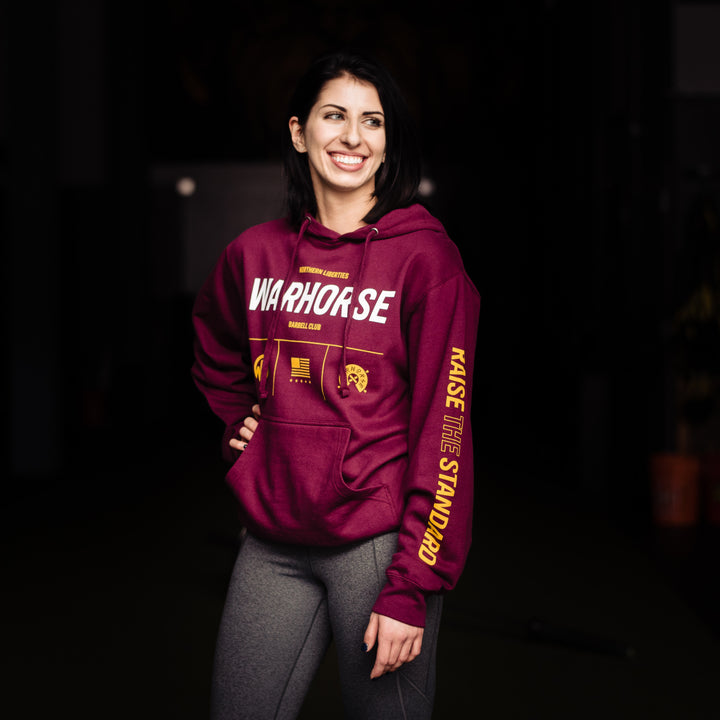 Warhorse Barbell Club // Raise The Standard Logo Maroon Hoodie