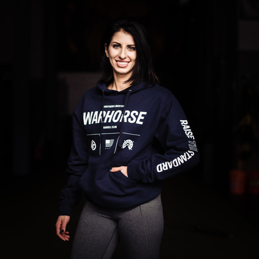 WARHORSE BARBELL CLUB // RAISE THE STANDARD LOGO NAVY HOODIE