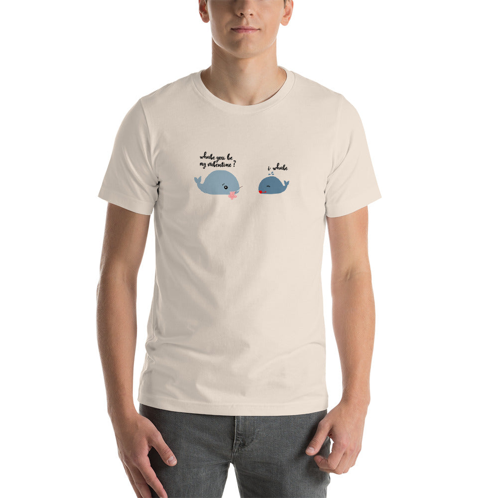 """Whale you be my valentine?"" Premium short sleeve t-shirt"