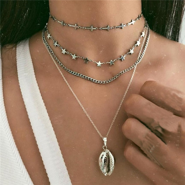 Boho Multi-element Crystal Necklaces For Women Fashion Gold Silver  Necklace Vintage Multiple Layers Pendant Necklace Jewelry