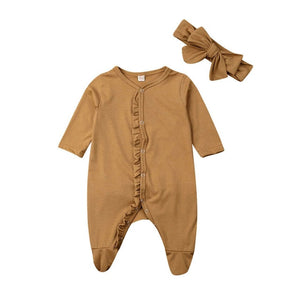 0-12M Newborn infant Baby Footies jumpsuit +Headdress long sleeve ruffled solid cotton comfortable baby boy girl clothes