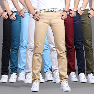 2019 Spring autumn New Casual Pants Men Cotton Slim Fit Chinos Fashion Trousers Male Brand Clothing 9 colors Plus Size 28-38