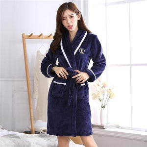 Thicken Warm Couple Flannel Robe Winter Long Sleeve Bathrobe Sexy V-Neck Women Men Nightgown Lounge Sleepwear Home Clothes