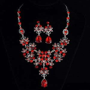 KMVEXO Multiple Colors Water Drop Wedding Bridal Formal Party Prom Jewelry Sets Crystal Rhinestone Brides Necklace Earrings Sets