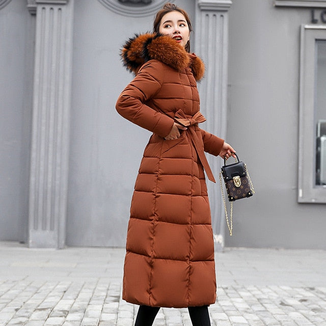 Fashion Winter Coat Women Jackets Thick Down Parkas Big Fur Belt Hooded Cotton Long Coats Warm Windbreaker Female Slim Outwear
