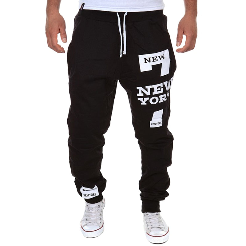 Men's hip hop Letter Print Sweatpants Sport pants 2019 New Male Casual Lace-up Loose Hip Trousers Joggers Fashion Cotton Pants