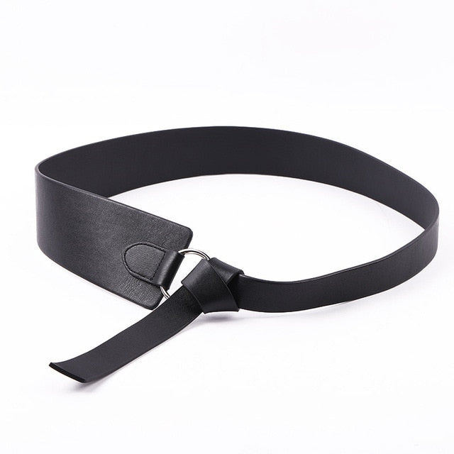 New Black Wide Corset leather Belt Female Tie Obi Waistband thin brown Bow leisure Belts for Women Wedding Dress Waistband lady