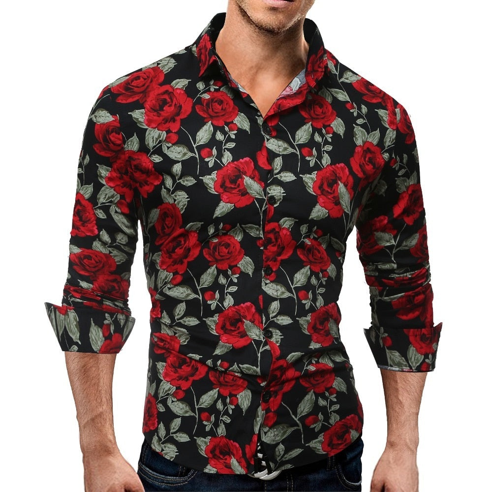 Men's Long Sleeve Casual Shirt Fashion Rose Flower 3D Print Floral Shirt Turn-down Collar Slim Fit Shirt Mens Clothing